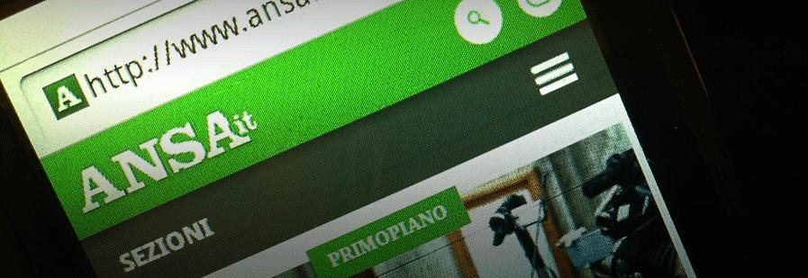 Icona ad hamburger sul sito dell'Ansa in versione mobile