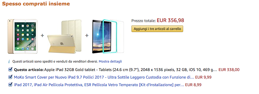 Acquisto in bundle di iPad e accessori