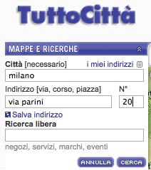 Esempio di form per la ricerca di indirizzi del sito tuttocitta.it