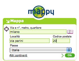 modulo per la ricerca di indirizzi nel sito mappy.it