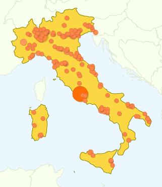 geolocalizzazione delle visite a usabile.it secondo Google Analytics