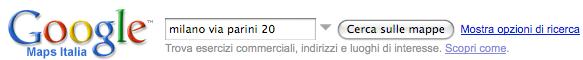Interfaccia di input per le mappe di Google