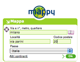 Interfaccia di input per le mappe di Mappy